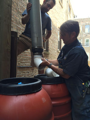Feeding barrels from the downspout